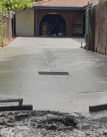 A concrete slab in the process of being laid.
