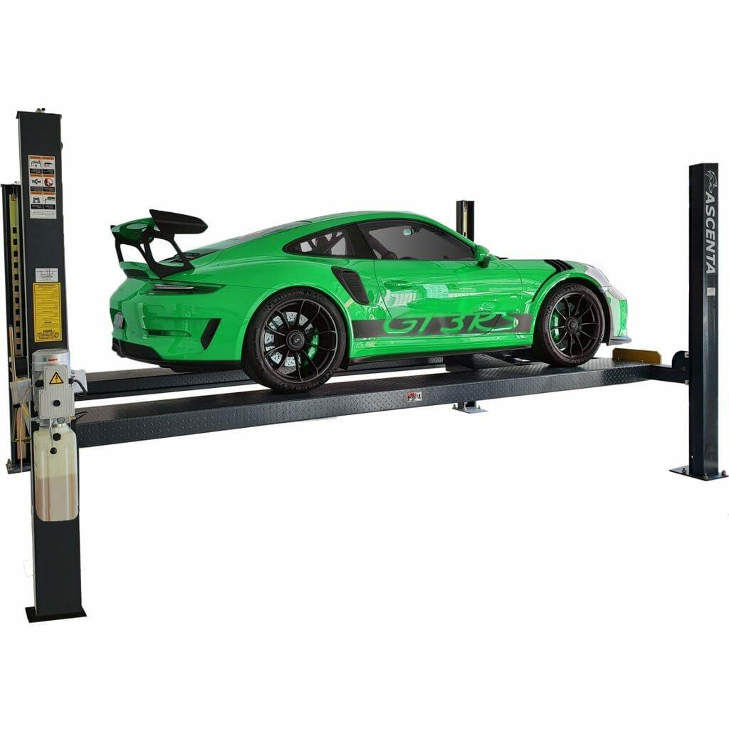 Porsche GT3RS on a 4 post car hoist.
